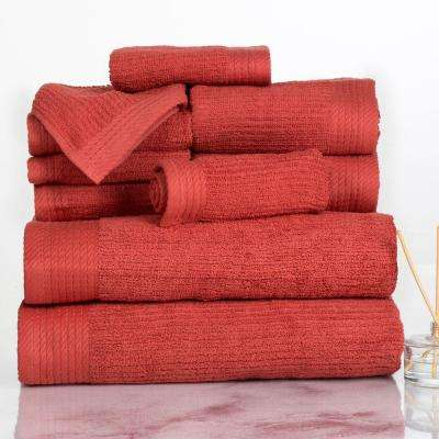 Ribbed Egyptian Cotton Towel Set in Brick (10-Piece)
