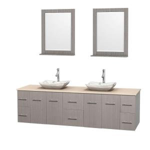 Wyndham Collection Centra 80 inch Double Vanity in Gray Oak with Marble Vanity Top in Ivory, Carrera Marble Sinks and 24... by Wyndham Collection