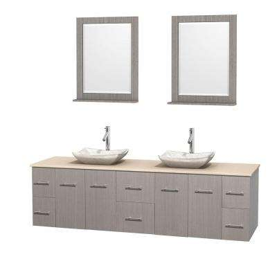 Centra 80 in. Double Vanity in Gray Oak with Marble Vanity Top in Ivory, Carrera Marble Sinks and 24 in. Mirror