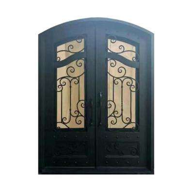 81 in. x 62 in. Matte Black Right-Hand Inswing 2 Lite Tempered Rainstorm Glass Iron Prehung Front Door
