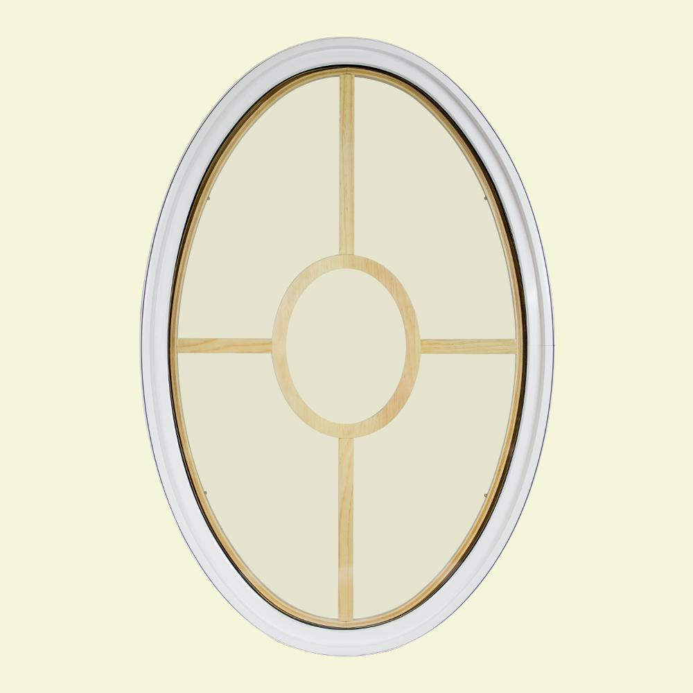 30 in. x 48 in. Oval White 4-9/16 in. Jamb 5-Lite