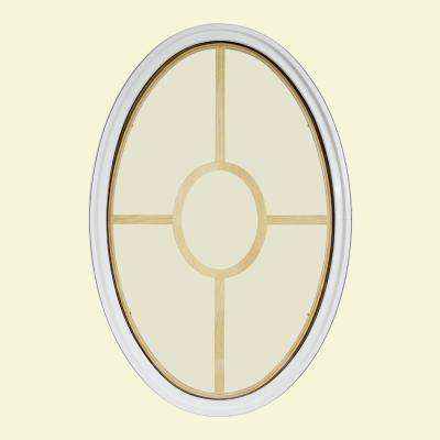 34 in. x 54 in. Oval White 6-9/16 in. Jamb 3-1/2 in. Interior Trim 5-Lite Grille Geometric Aluminum Clad Wood Window