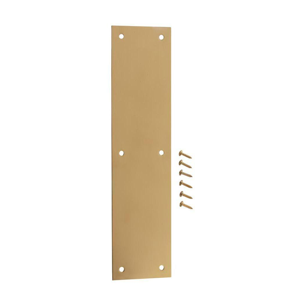 3-1/2 in. x 15 in. Bright Brass Push Plate