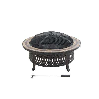 Marwick  Dia.40 in. H x 16.14 in. Round Fire Pit in Brown