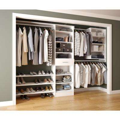 Assembled Reach-In 15 in. D x 120 in. W x 84 in. H Calabria in a Bianco White Melamine 14-Shelves Closet System