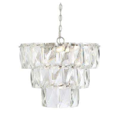 7-Light Polished Nickel Chandelier with Clear Accents