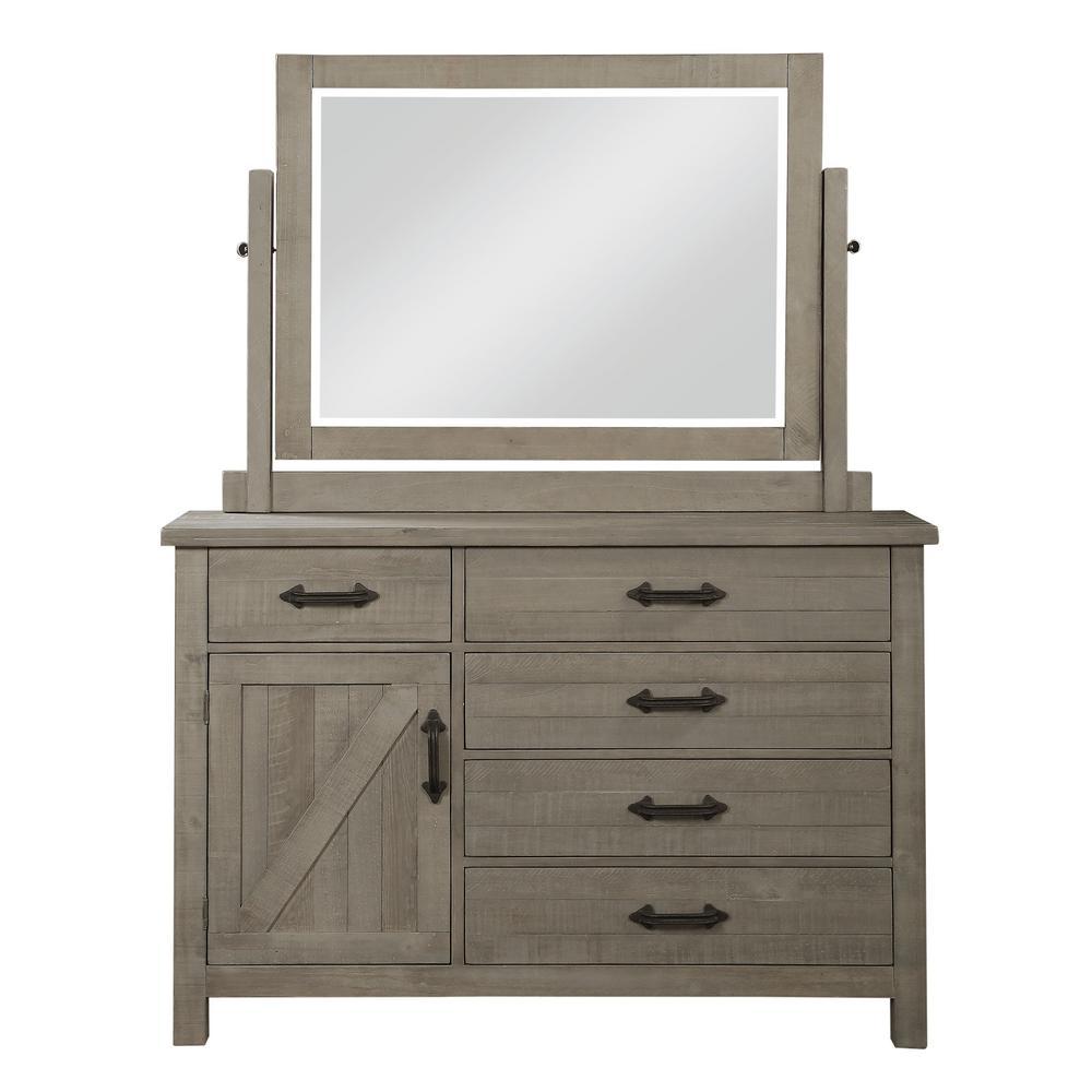 Austin 5-Drawer 42 in. H x 60 in. W x 20 in. D Rustic Grey Dresser