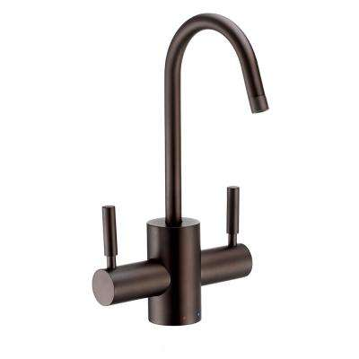 2-Handle Instant Hot and Cold Water Dispenser with Contemporary Spout and Self Closing Handle in Oil Rubbed Bronze