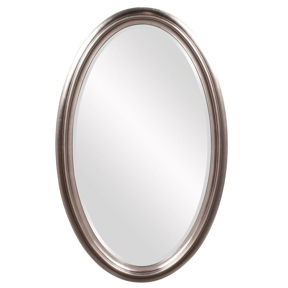 null 48 in. x 30 in. Bright Nickel Oval Wood Framed Mirror
