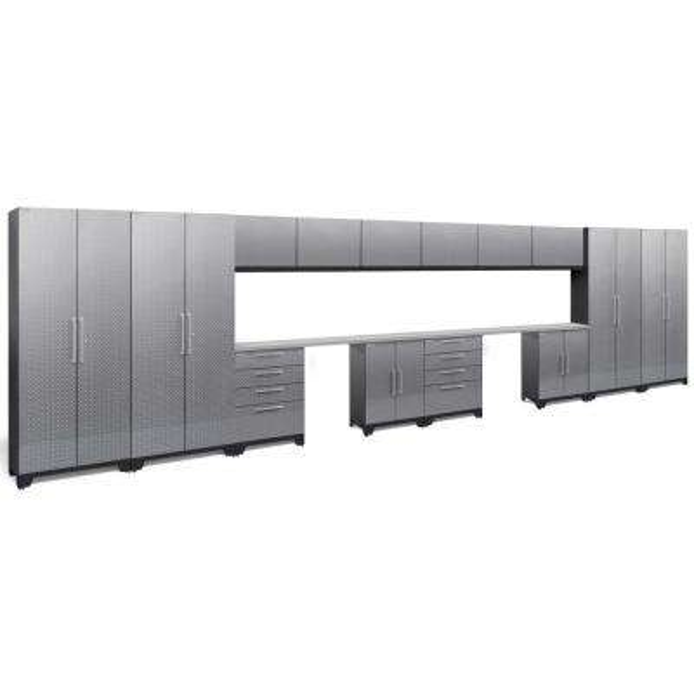 Performance Diamond Plate 2.0 72 in. H x 264 in. W x 18 in. D Garage Cabinet Set in Silver (16-Piece)