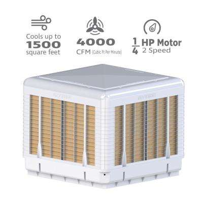4000 CFM 2-Speed Down/Side Discharge Roof Top Evaporative Cooler for 1500 sq. ft. (with Motor)
