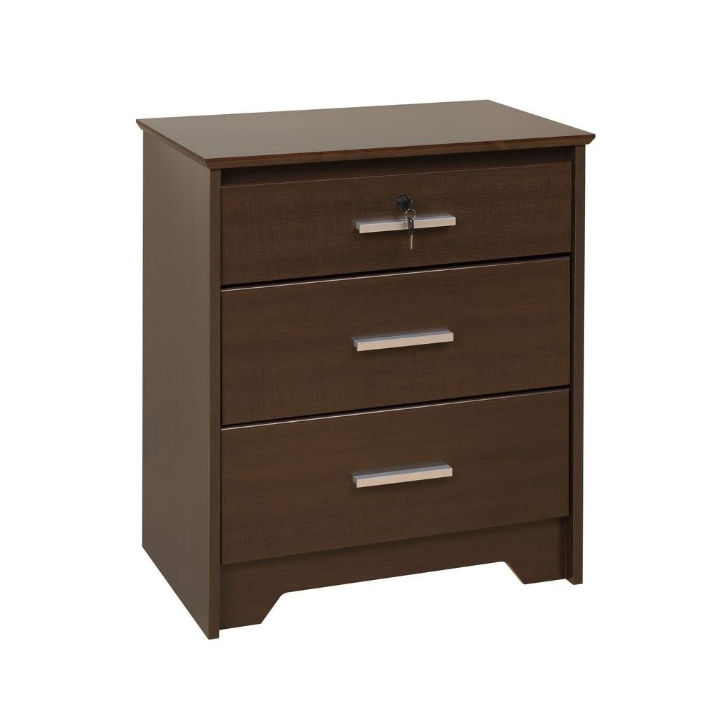 Prepac Coal Harbor Espresso Tall and Wide 3-Drawer Locking Night Stand-DISCONTINUED