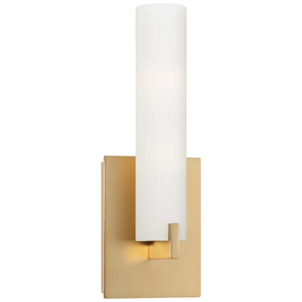 Tube 1-Light Honey Gold Integrated LED Sconce