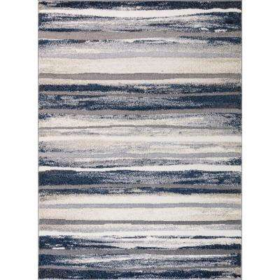 Charlotte Collection Retro Blue 6 ft. 7 in. x 9 ft. 3 in. Area Rug