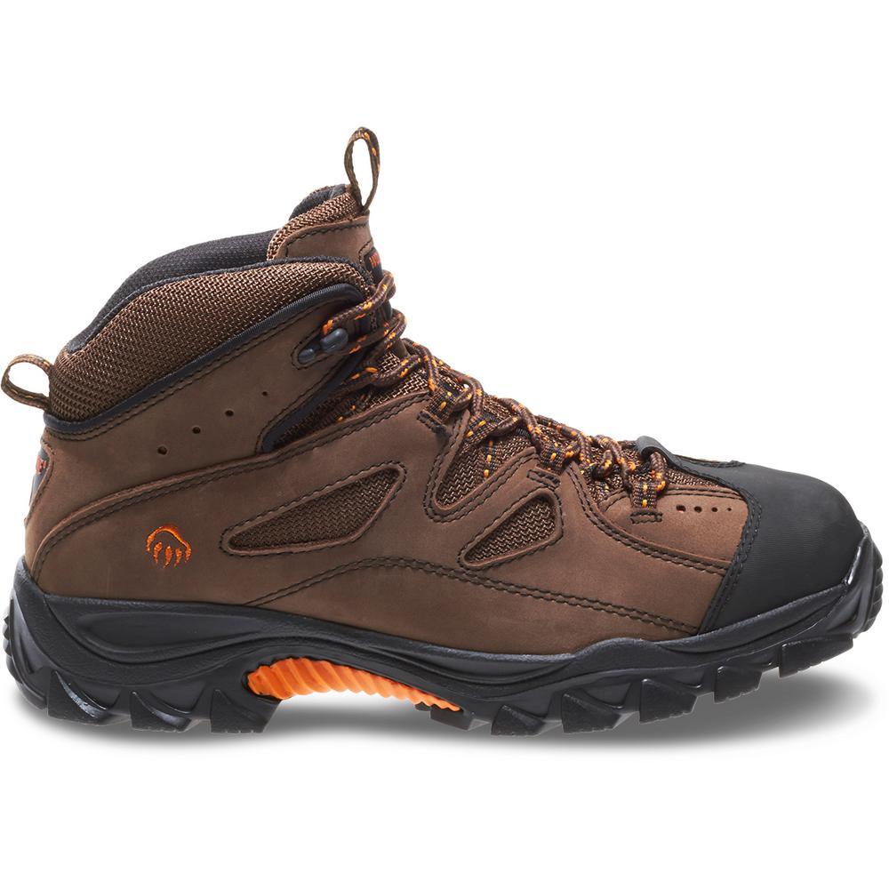 Men's Hudson Size 12M Dark Brown Nubuck Leather Steel Mid-Cut Work Boot
