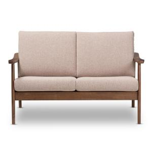 Venza Light Brown and Walnut Brown Fabric Loveseat