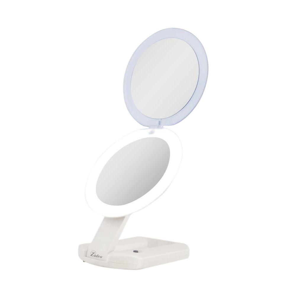 ngl 6.25 in. W x 16 in. H Bi-View Travel and Compact Makeup Mirror in Ivory