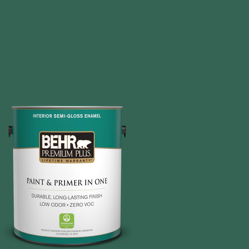 1-gal. #480D-7 Isle of Pines Zero VOC Semi-Gloss Enamel Interior Paint