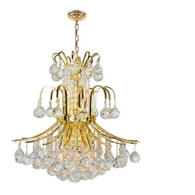 Empire Collection 9-Light Polished Gold Crystal Chandelier