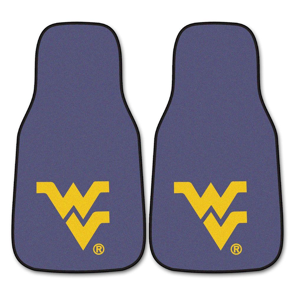 FANMATS West Virginia University 18 in. x 27 in. 2-Piece Carpeted Car Mat Set