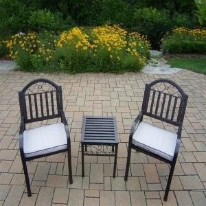Rochester 3-Piece Aluminum Outdoor Bistro Set with Oatmeal Cushions by