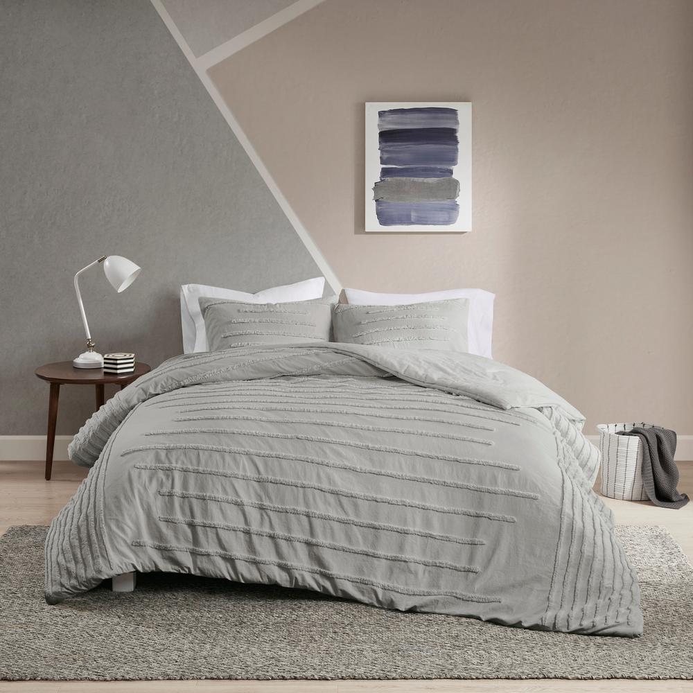 Camden 3-Piece Grey Full/Queen Cotton Chenille Comforter Set