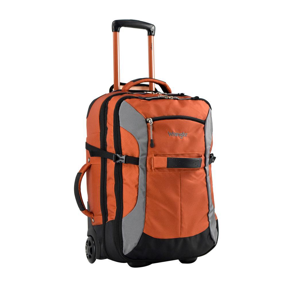 Burnt Orange Upright Rolling Carry On Duffel
