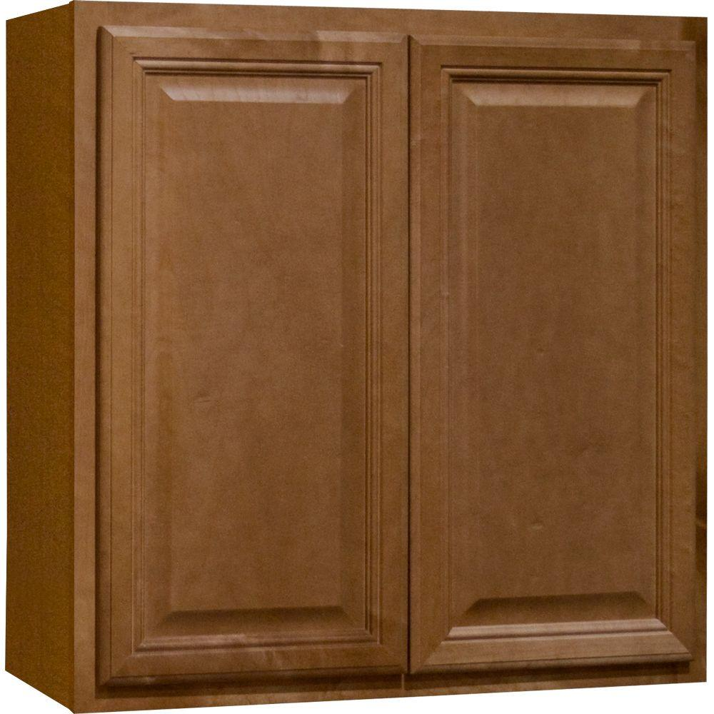 Hampton Bay Cambria Assembled 30x30x12 In Wall Kitchen Cabinet In Harvest