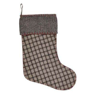 15 in. Felt Weston Slate Grey Traditional Christmas Decor Stocking
