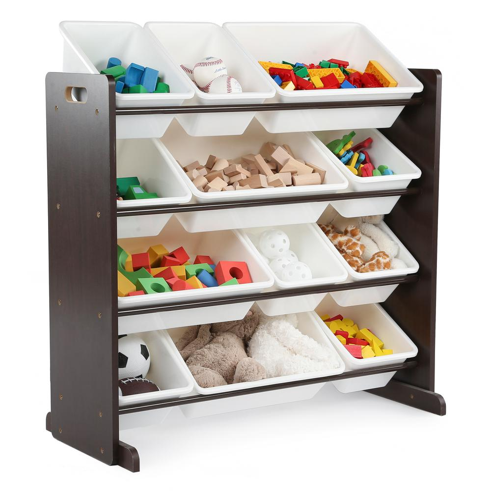 Espresso Collection Espresso and White Kids Toy Storage Organizer with 12