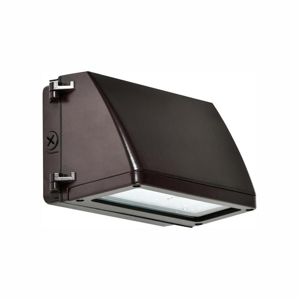 35-Watt Bronze Dusk-to-Dawn Outdoor Integrated LED Rectangular Wall Pack Light