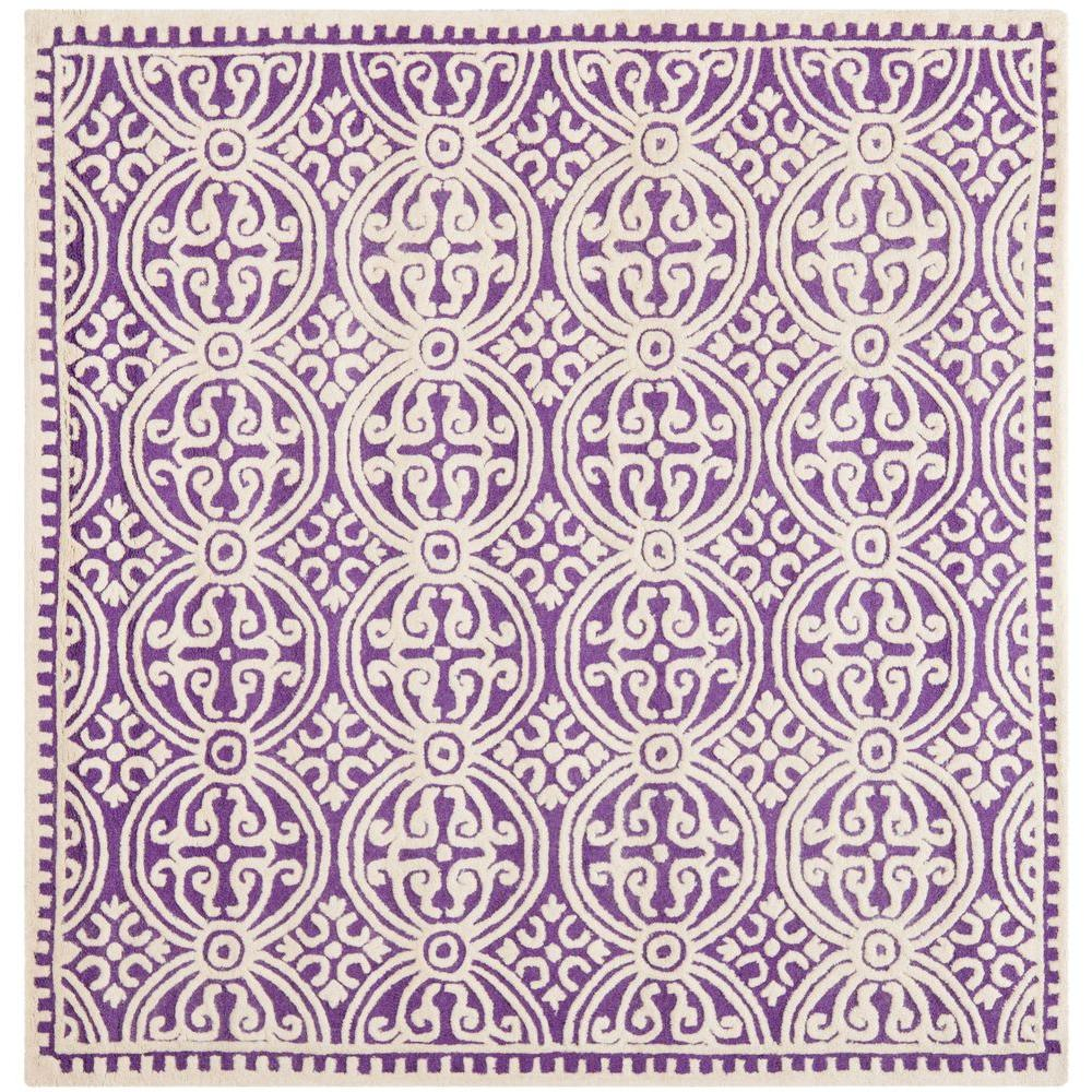 Cambridge Purple/Ivory 4 ft. x 4 ft. Square Area Rug