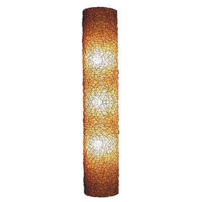 Modern 3-Light Amber Half Moon Shaped Wall Sconce with Natural Rattan Accent