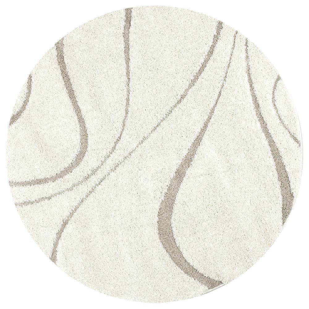 Carolyn Contemporary Curves Shag Cream 8 ft. Round Rug