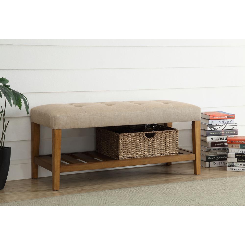 Acme Furniture Charla Beige and Oak Storage Bench by Acme Furniture