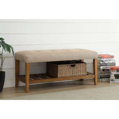 Charla Beige and Oak Storage Bench