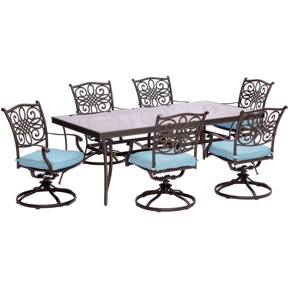 Cambridge Seasons 7 Piece Aluminum Outdoor Dining Set With Blue Cushions  And Glass Top