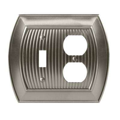 Sea Grass 1-Toggle and 1-Duplex Outlet Combination Wall Plate, Satin Nickel