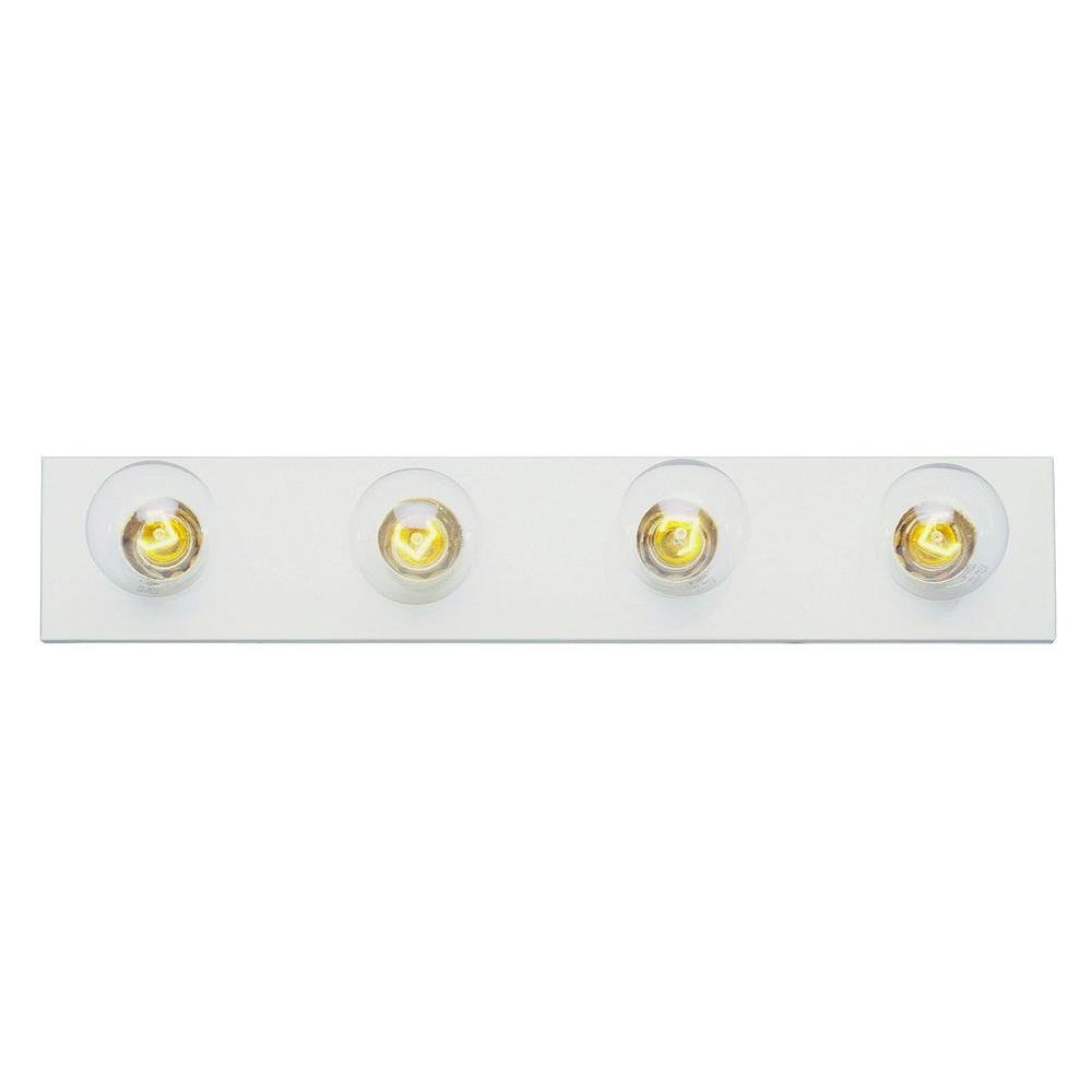 Cabernet Collection 4-Light White Bath Bar Light