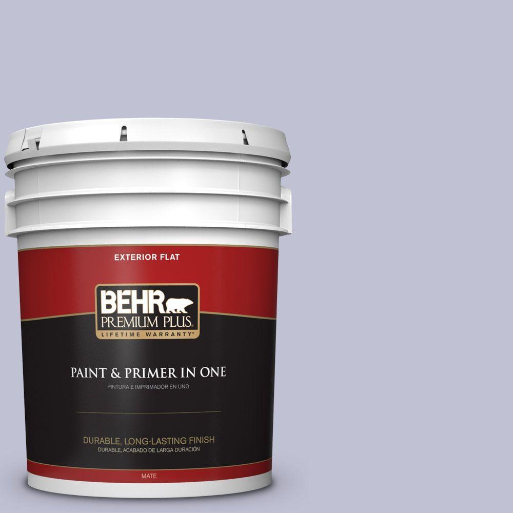 BEHR Premium Plus 5-gal. #S560-2 Lavender Honor Flat Exterior Paint, Purples/Lavenders