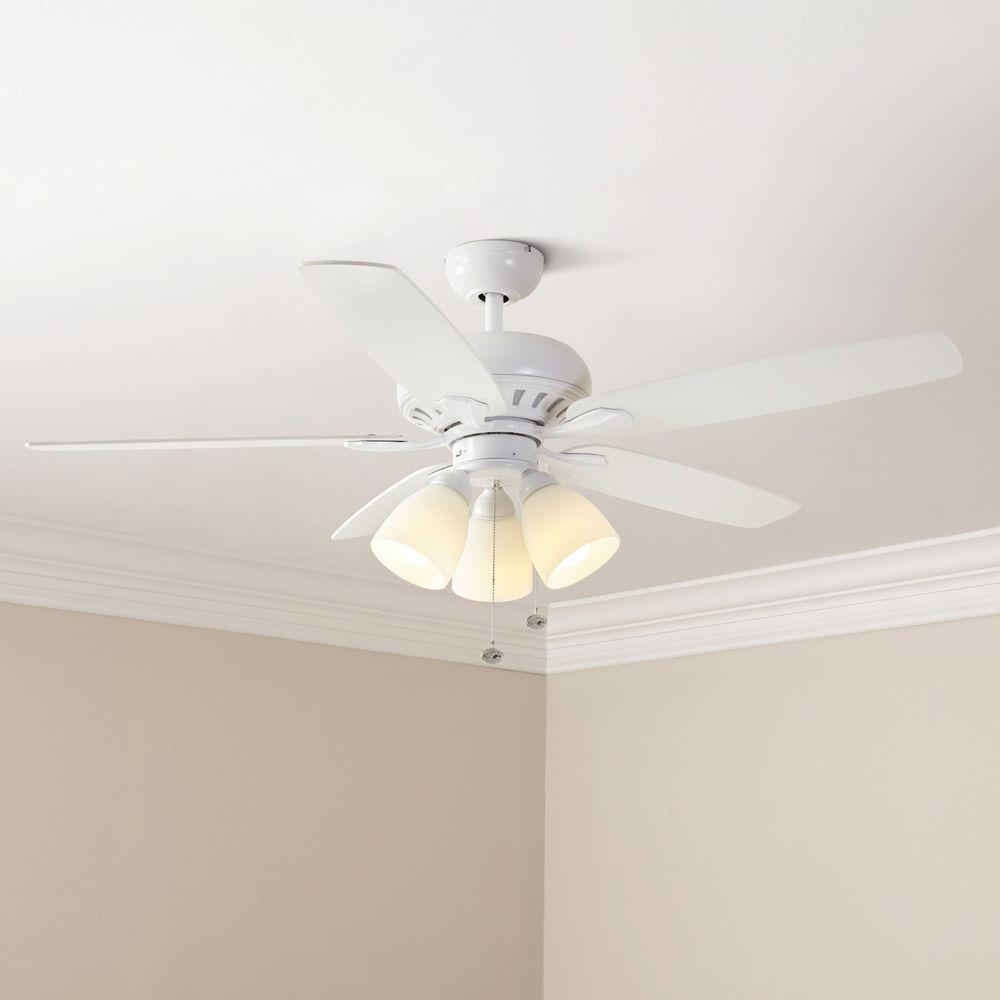 Rockport 52 Inch Led Matte White Ceiling Fan 5 Blades With