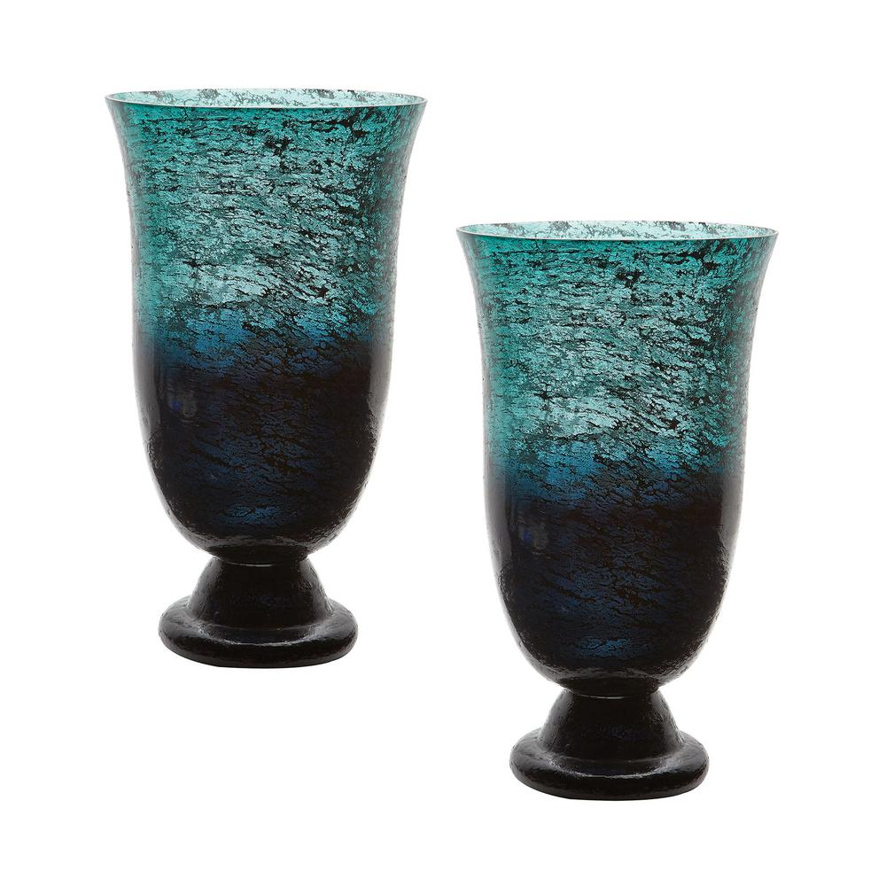 14 in. Ombre Flared Glass Decorative Vases in Emerald Green (Set