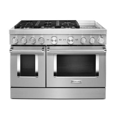 48 in. 6.3 cu. ft. Smart Double Oven Dual Fuel Range with True Convection in Stainless Steel with Griddle