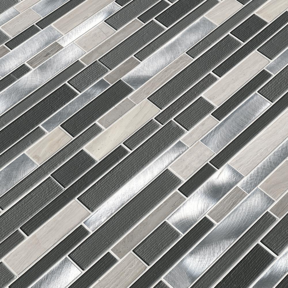 Urban Loft Interlocking 12 in. x 12 in. x 4 mm Glass Stone Metal Mesh-Mounted Mosaic Tile (1 sq. ft.)