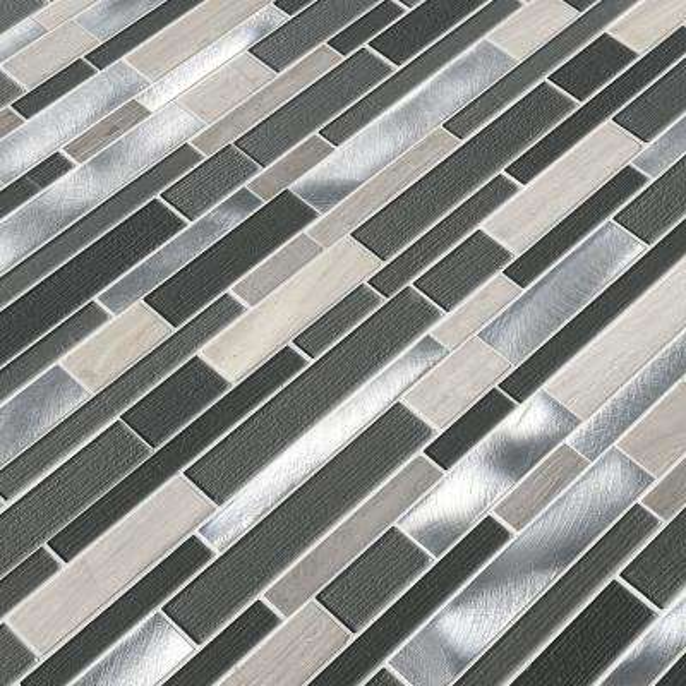 Urban Loft Interlocking 12 in. x 12 in. x 4 mm Textured Glass Stone Metal Mesh-Mounted Mosaic Tile (1 sq. ft.)