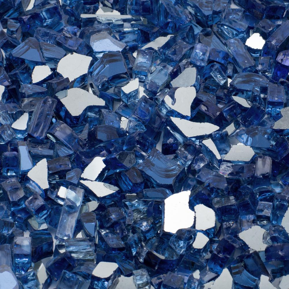 1/4 in. 1000 lb. Cobalt Blue Reflective Tempered Fire Glass