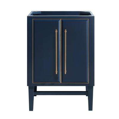 Mason 24 in. Bath Vanity Cabinet Only in Navy Blue with Gold Trim
