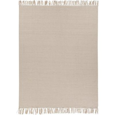 Anaya Light Beige Casual Simplistic Solid Cotton Throw Blanket