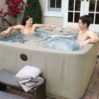 Select 150 4-Person Plug and Play Hot Tub with 12 Stainless Jets and LED Waterfall in Cobblestone