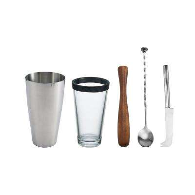 4-Piece Stainless Steel, Glass and Wood Mojito Cocktail Set